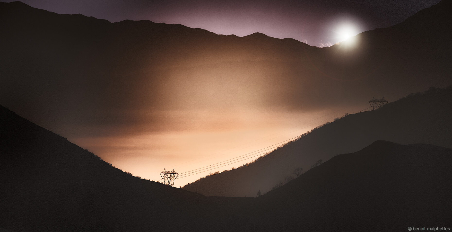 Sunrise in the San Bernardino Mountains near Los Angeles as photographed by Benoit Malphettes